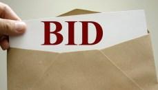 Envelope with Bid printed on paper