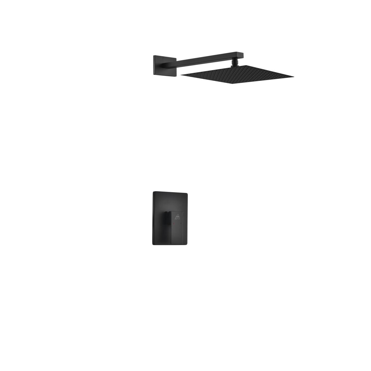 Aqua Piazza Black Shower Set W 12 Square Rain Shower Head