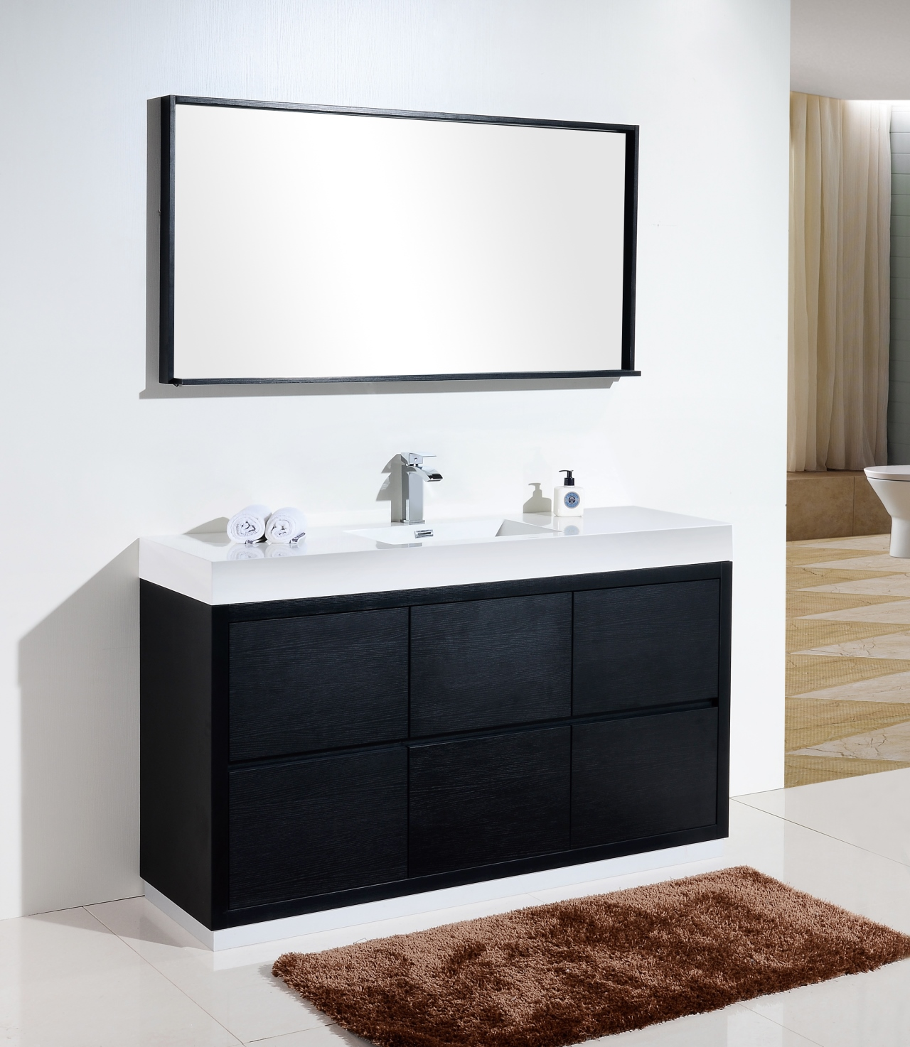 Bliss 60 Single Sink Black Free Standing Modern Bathroom Vanity
