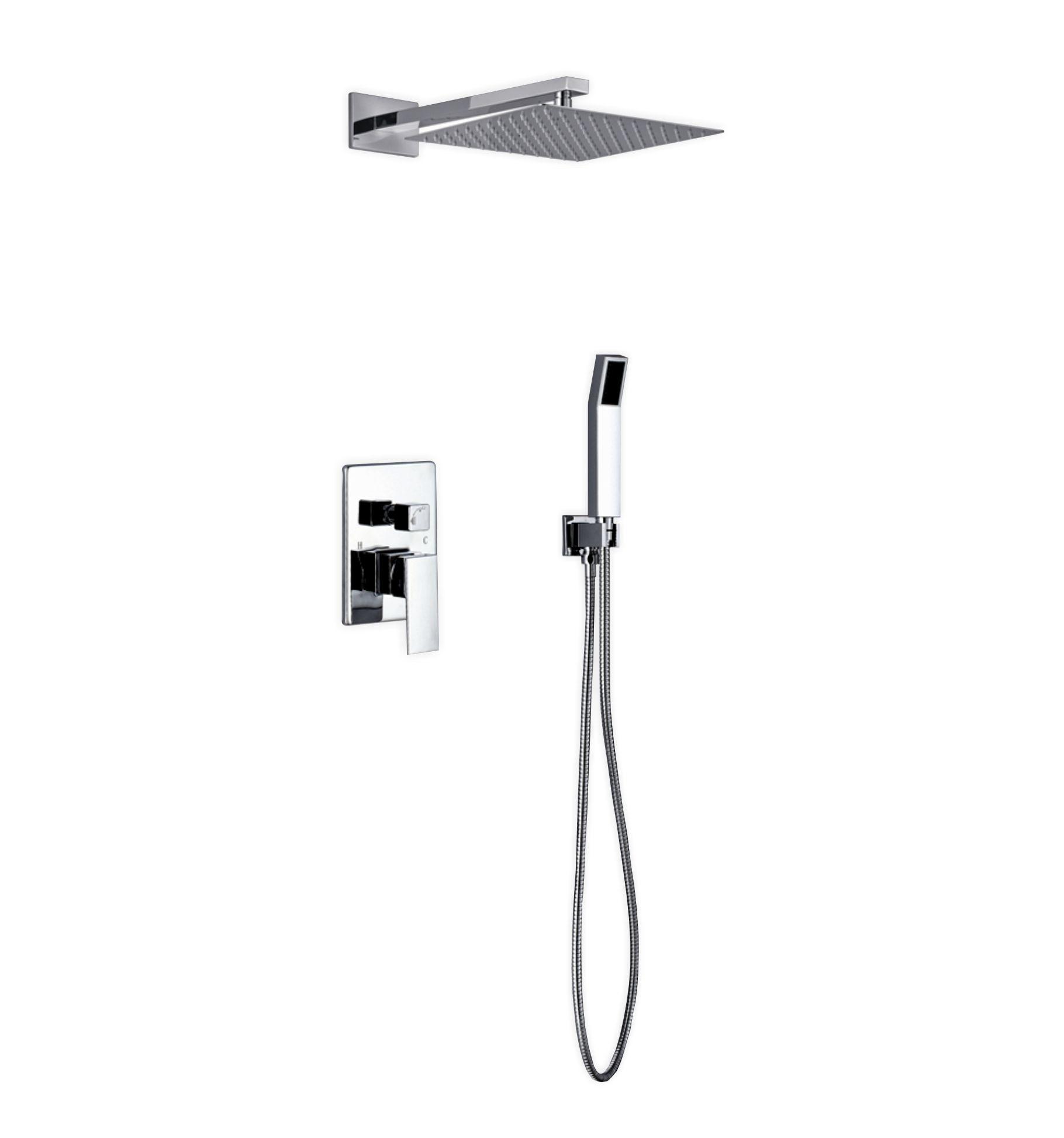 Aqua Piazza Shower Set W 12 Square Rain Shower And Handheld