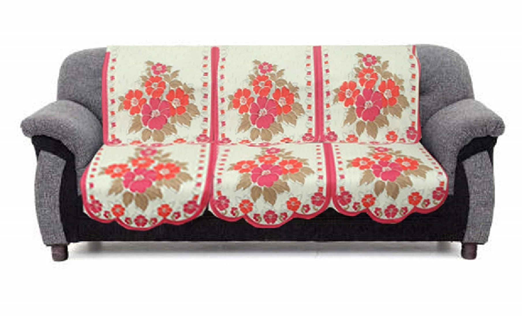 kuber industries flower cotton 2 piece 3 seater sofa cover pink cream
