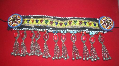 Kuchi Necklace with Fabric and gemstone