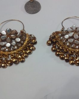 Golden Mirror Kuchi Ear Rings
