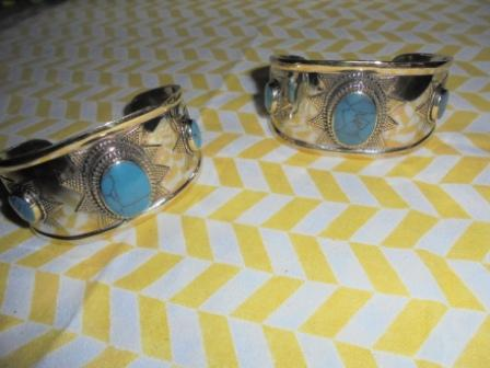 Silver Pleaded Turquoise Cuff