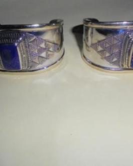 Hand Made Lapis Silver Pleated Cuff