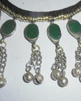 Green Crystal & Bells Necklace