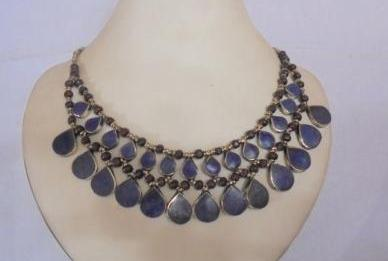 Double Line Lapis Necklace