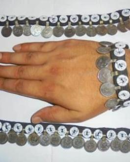 White Button & Coins Bracelet