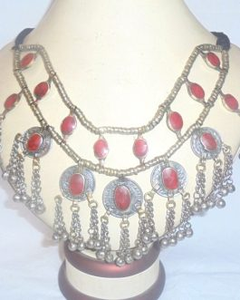 Coral Stone Necklace With Coins