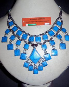 3 Square Lines Turquoise Vintage Necklace