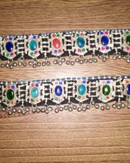 Tribal Oval Crystal beads Adjustable Anklet Pair