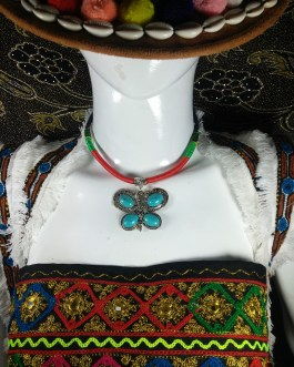 Chokar of Green & Red Cord With Pendant-3