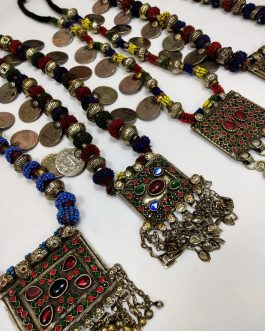 Long Vintage Turkman Beads Necklace