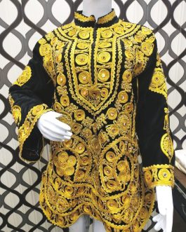 Golden Trim & Mirror Afghani Velvet Shirt