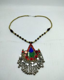 Vintage Boho Pendant & Metal Beads Necklace