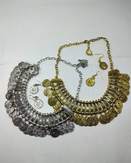 German Silver Coin Necklace Set