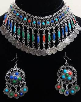 Multi Beads Necklace Set With Ear Ring-1
