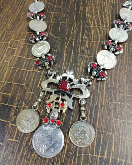 Old Coins And Red Beads Necklace