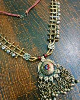 Round Pendant and Bells Gypsy Necklace