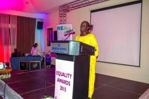 DR Specioza Wandera Kazibwe delivering her keynote addrress