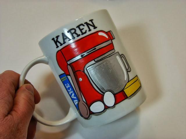 Love to bake painted coffee mug