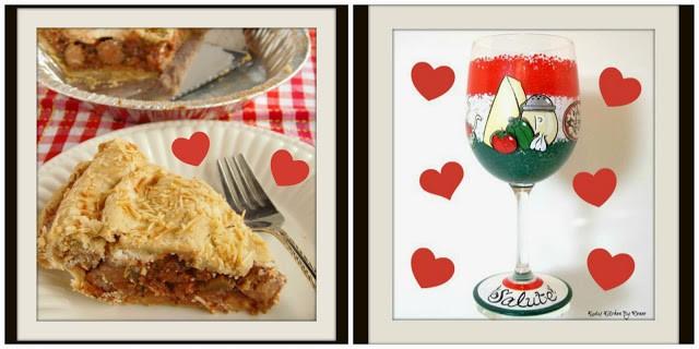 Pizza Pie and custom painted Italian wine glass