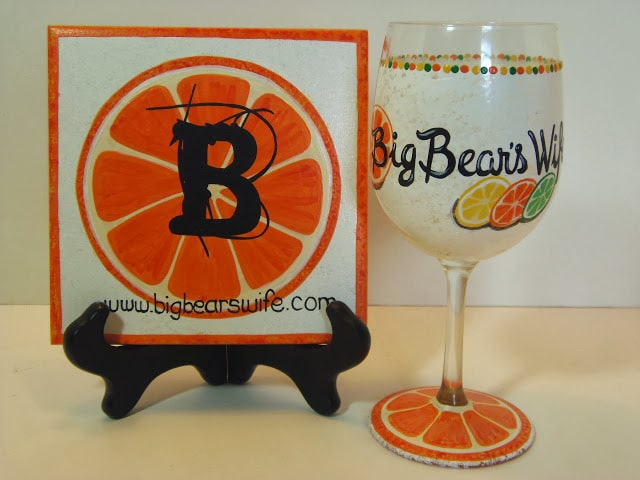 Food Bloggers Painted Wine Glass and Trivet