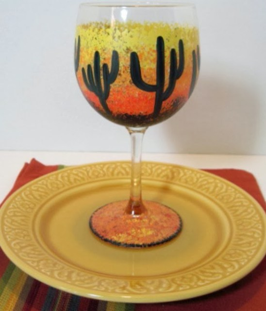 Kudos Kitchen By Renee - Cactus Sunset Wine Glass