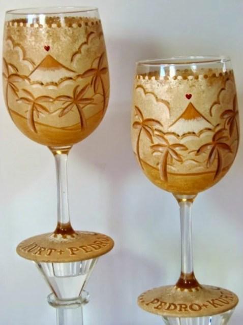 Hawaiian Themed Custom Wedding Wine glasses via Kudos Kitchen By Renee