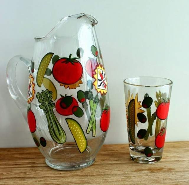 Hand Painted Bloody Mary Pitcher and Glass - Kudos Kitchen By Renee