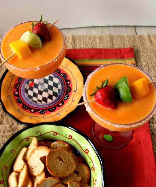 Frozen Mango Strawberry Margaritas Recipe via Kudos Kitchen By Renee