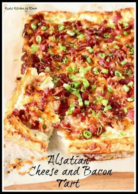 Alsatian Cheese and Bacon Tart via kudoskitchenbyrenee.com
