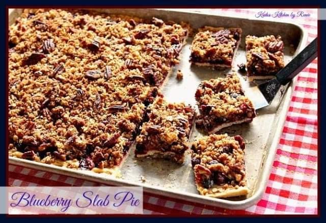Blueberry Slab Pie, blueberries, pie, dessert, blueberry pie, crumble topping