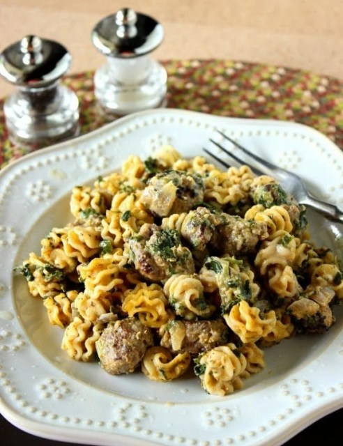 Pumpkin and Sausage Pasta with creamy pumpkin and cream cheese sauce.