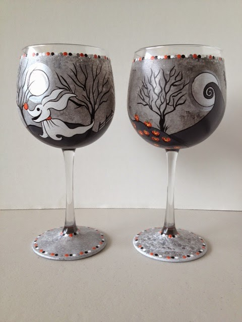 Nightmare Before Christmas painted wine glasses via kudoskitchenbyrenee.com