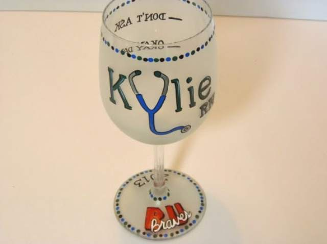 Custom Whimsical Nurses Painted Wine Glass