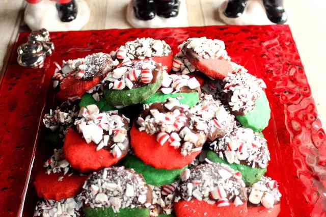 Red and Green Peppermint Shortbread Cookies