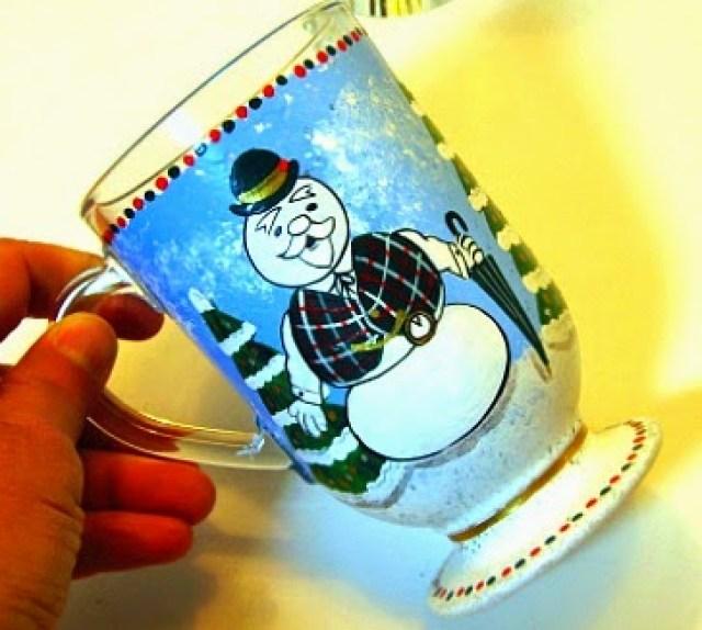 Sam the Snowman painted coffee mug via Kudos Kitchen by Renee