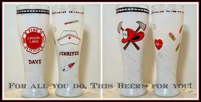 Custom Fireman and Nurse Occupation Painted Pilsner / www.kudoskitchenbyrenee.wazala.com