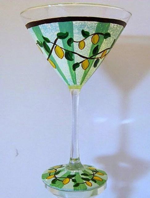 Hand Painted Lemon Drop Martini Glass /  www.kudoskitchenbyrenee.wazala.com