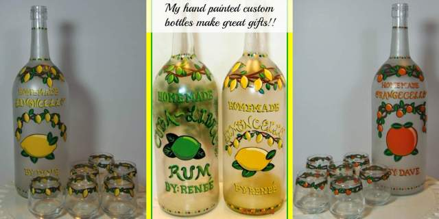 Hand painted limoncello and orangecello bottles