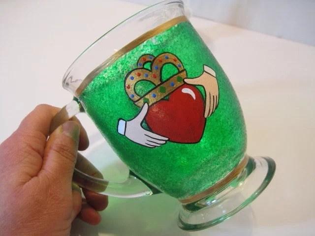 Hand Painted Claddagh Irish Coffee Mug - www.kudoskitchenbyrenee.wazala.com