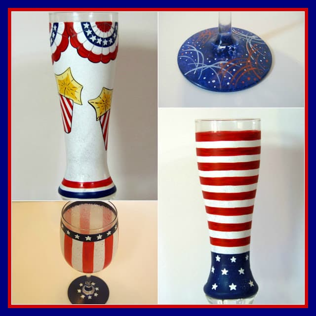 4th of July Hand Painted Glassware