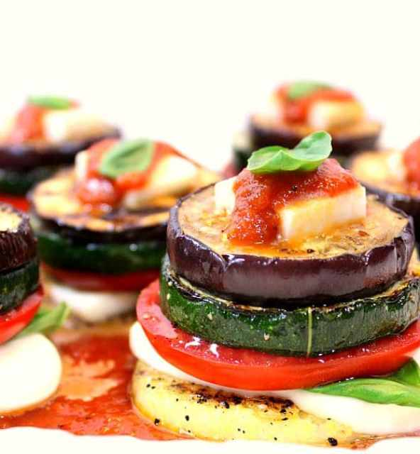 Grilled Garden Harvest Polenta Stacks