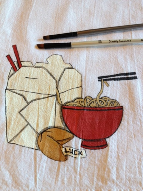 Hand Painted Asian Noodle Bowl Tea Towel