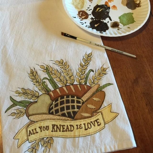All you knead is love hand painted tea towel