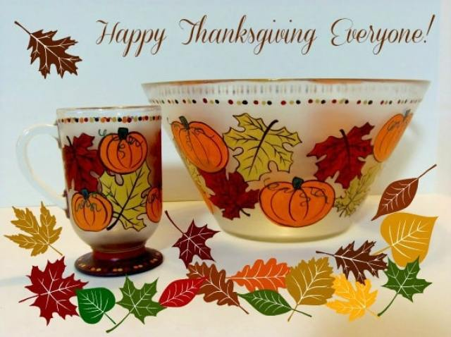Autumn Leaves and Pumpkin Painted Glassware