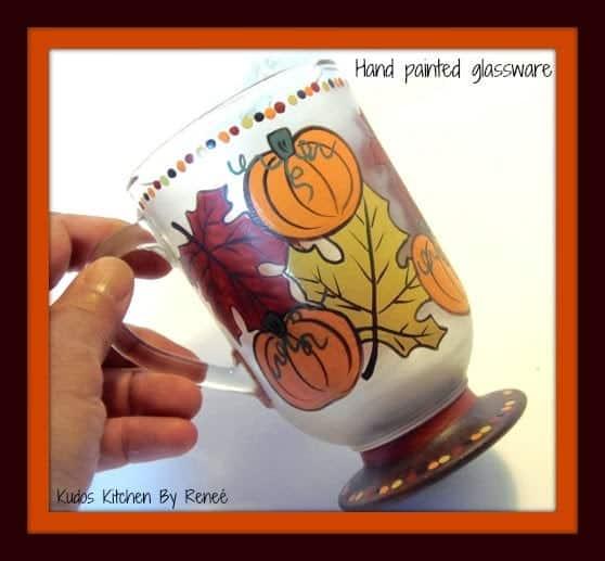 Autumn Leaves and Pumpkin hand painted coffee mug
