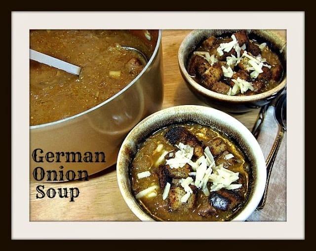 German Onion Soup with Rye Bread Croutons - www.kudoskitchenbyrenee.com