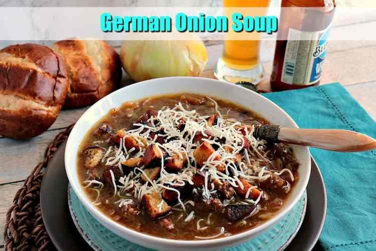 German Onion Soup with Bratwurst & Pretzel Roll Croutons